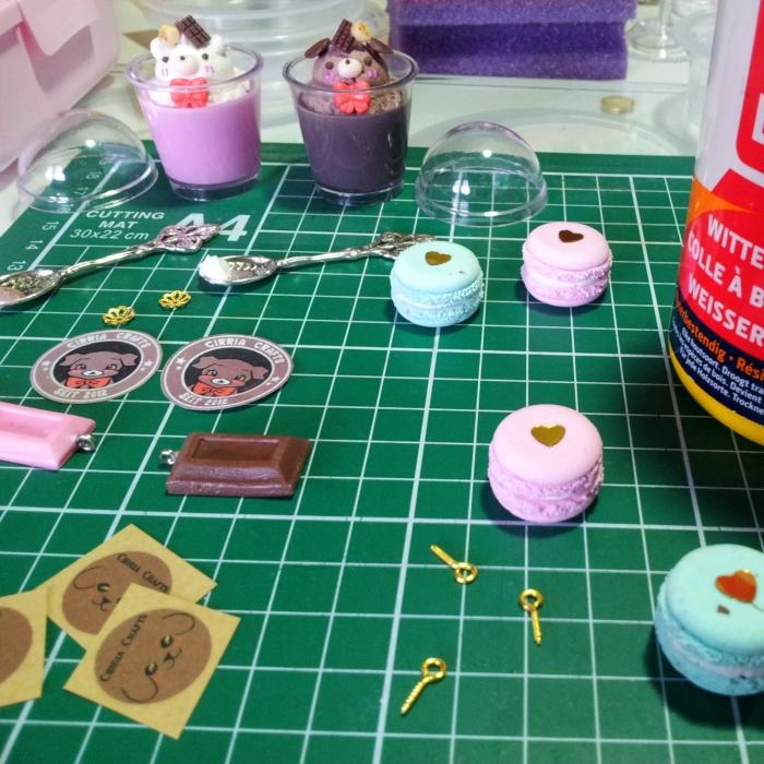 Kawaii parfait charms and macaron bracelets - wip